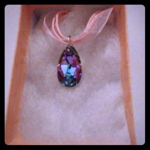 Jewelry - Vacation Pink Crystal Teardrop Necklace